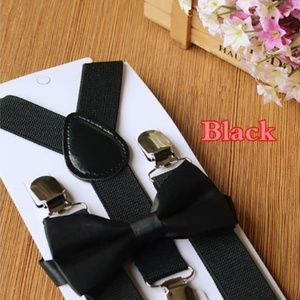 Other - Boutique toddler boy black suspenders and tie